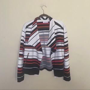 CALVIN KLEIN striped open front blazer size XL